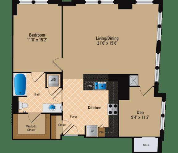Floor Plan  1 Bedroom + Den, 1 Bath 1067 SF AD12