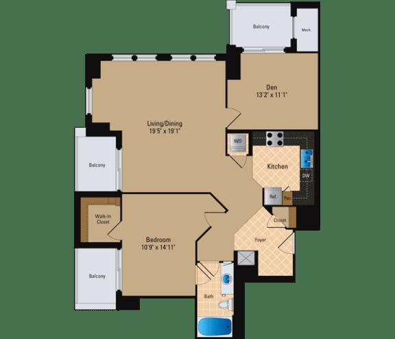 Floor Plan  1 Bedroom + Den, 1 Bath 1173 SF AD15