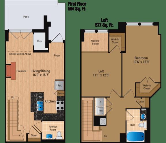 Floor Plan  1 Bedroom + Den, 1 Bath 1081 SF ADL1