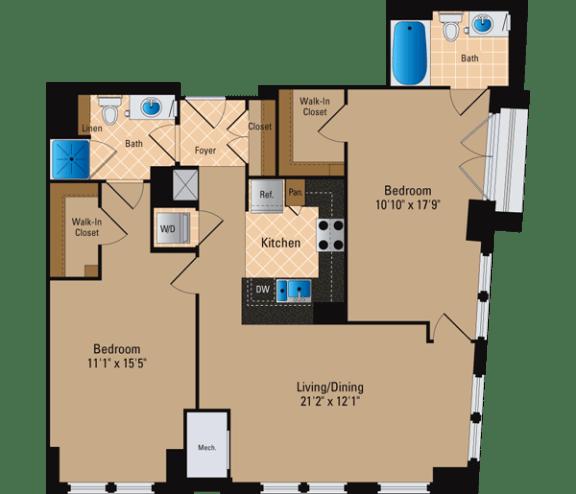 Floor Plan  2 Bedroom, 2 Bath 1126 SF B15