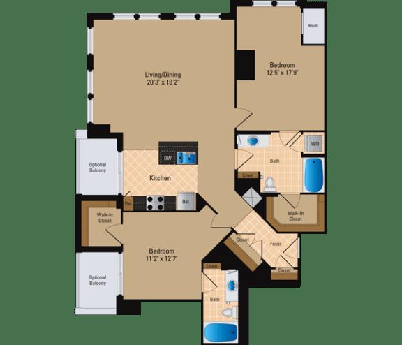 Floor Plan  2 Bedroom, 2 Bath 1357 SF B32
