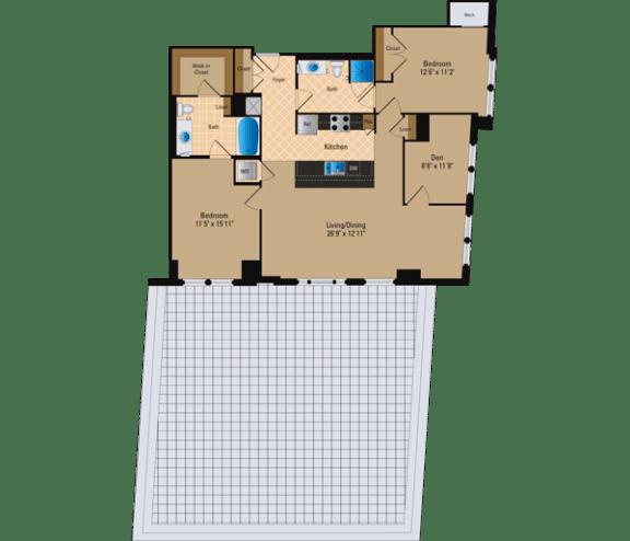 Floor Plan  2 Bedroom + Den, 2 Bath 1318 SF BD3
