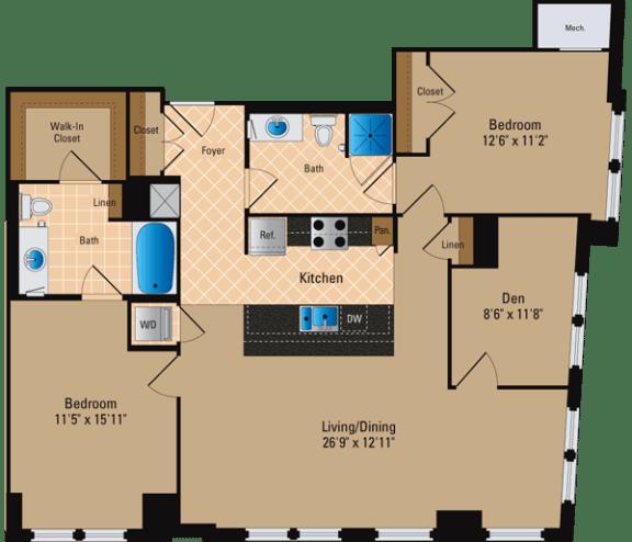 Floor Plan  2 Bedroom + Den, 2 Bath 1318 SF BD4