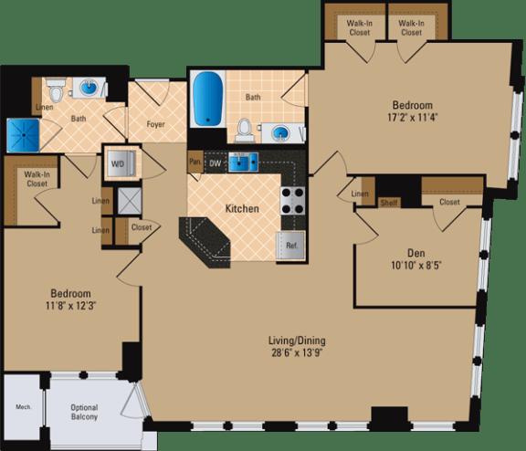 Floor Plan  2 Bedroom + Den, 2 Bath 1387 SF BD7