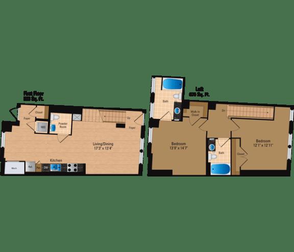 Floor Plan  2 Bedroom + Loft, 2 Bath 1273 SF BL2