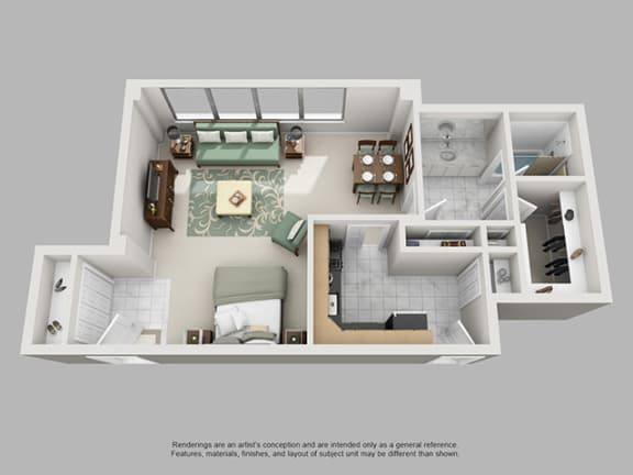 Floor Plan  Studio, 1 Bath 701 SF 01A