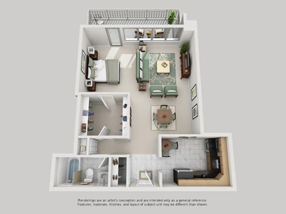 Floor Plan  Studio, 1 Bath 740 SF 01B