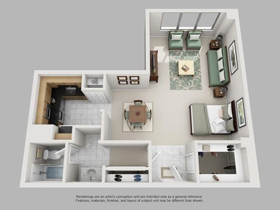 Floor Plan  Studio, 1 Bath 762 SF 01C