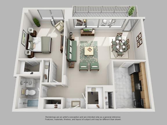 Floor Plan  1 Bed, 1 Bath 884 SF 11A