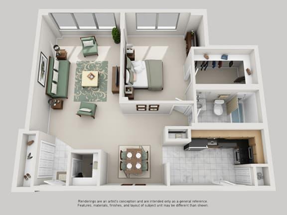 Floor Plan  1 Bed, 1 Bath 947 SF 11B