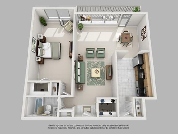 Floor Plan  1 Bed, 1 Bath 1051 SF 11C