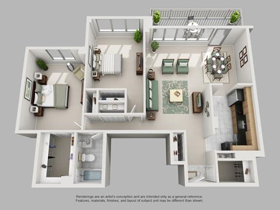 Floor Plan  2 Bed, 1 Bath 1224 21