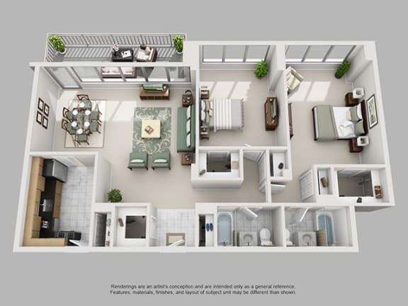 Floor Plan  2 Bed, 2 Bath 1197 SF 22