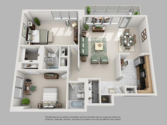 Floor Plan  2 Bed, 2 Bath 1205 SF 22A