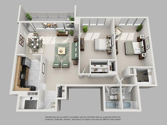 Floor Plan  2 Bed, 2 Bath 1294 SF 22B