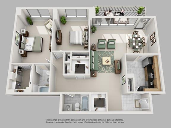 Floor Plan  2 Bed, 2 Bath 1442 SF 22C