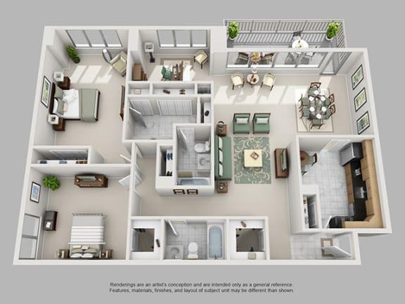 Floor Plan  2 Bed, 2 Bath + Den 1572 SF 2D2