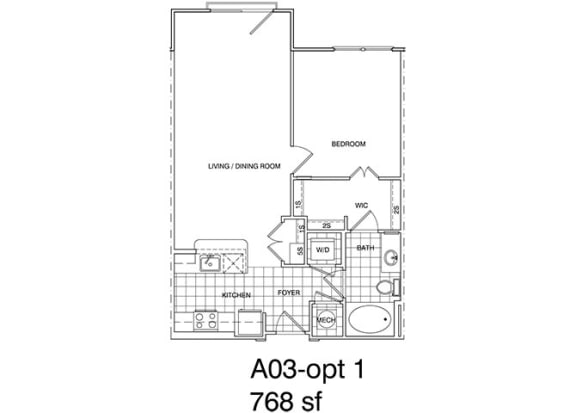 Floor Plan  1 Bedroom, 1 Bath 768 SF KA3.5