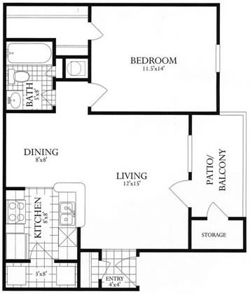 Floor Plan  1 Bed, 1 Bath 685 SF 11A