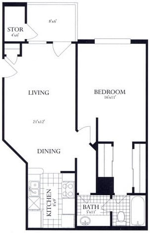 Floor Plan  1 Bed, 1 Bath 693 SF 11B