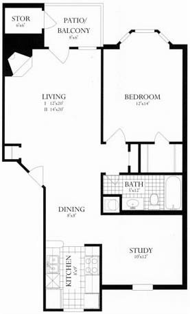Floor Plan  1 Bed + Den, 1 Bath 801 SF 1D1A