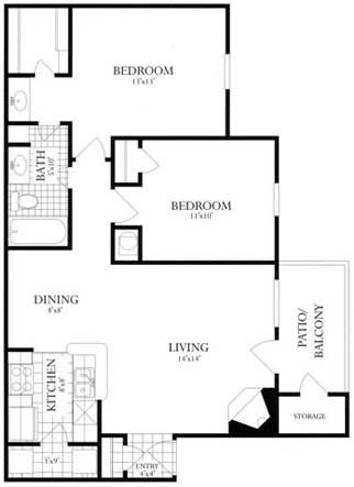 Floor Plan  2 Bed, 1 Bath 864 SF 21A