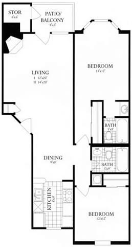 Floor Plan  2 Bed, 2 Bath 901 SF 22A