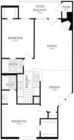 Floor Plan  2 Bed, 2 Bath 978 SF 22B