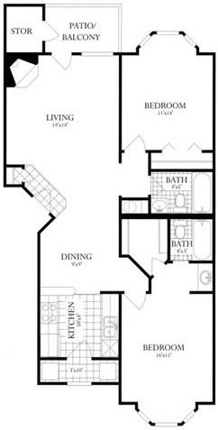 Floor Plan  2 Bed, 2 Bath 985 SF 22C