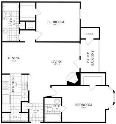 Floor Plan  2 Bed, 2 Bath 1038 SF 22D