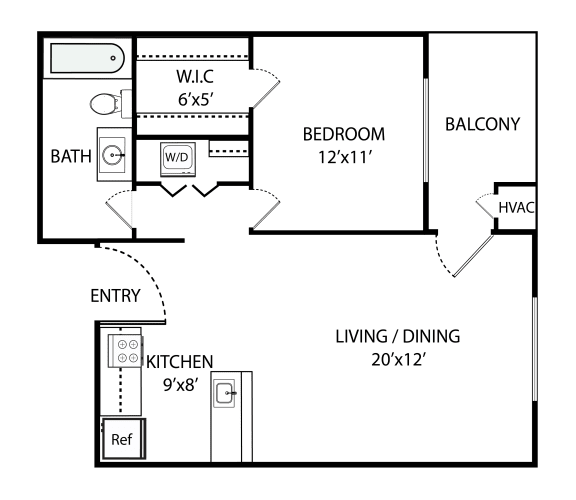Floor Plan  1 Bed, 1 Bath 800 SF