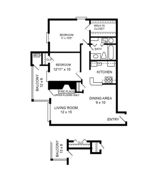 Floor Plan  2 Bedroom, 1 Bath 1044 SF