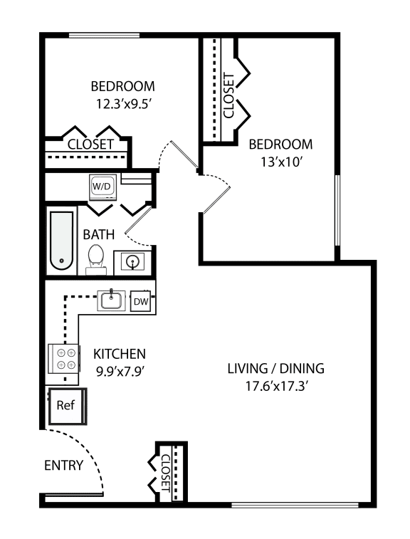 Floor Plan  2 Bed, 1 Bath 920 SF