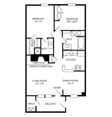 Floor Plan  2 Bed, 2 Bath 950 SF