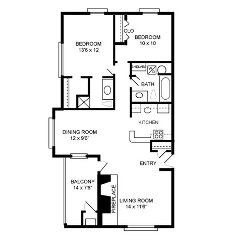 Floor Plan  2 Bed, 2 Bath 1072 SF