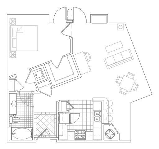 Floor Plan  1 Bedroom, 1 Bath 934 SF A4