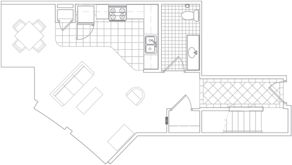 Floor Plan  2BR/2BA Townhouse1200 SF TB4B
