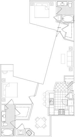 Floor Plan  2 Bedroom, 2 Bath 1153 SF B13