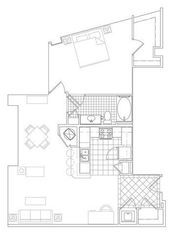 Floor Plan  1 Bedroom, 1 Bath 923 SF A14