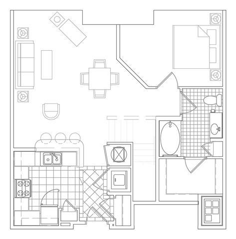 Floor Plan  1 Bedroom, 1 Bath 1072 SF A16BM