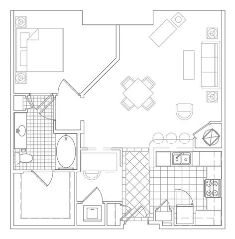 Floor Plan  1 Bedroom, 1 Bath 896 SF A3A