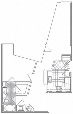 Floor Plan  1 Bedroom, 1 Bath 954 SF A5B