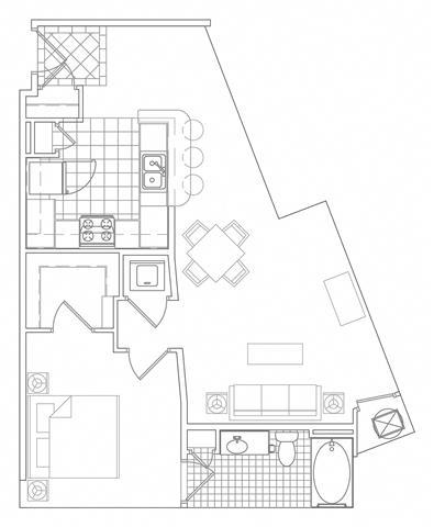 Floor Plan  1 Bedroom, 1 Bath 807 SF A6
