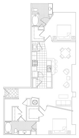 Floor Plan  2 Bedroom, 1 Bath 1321 SF B10