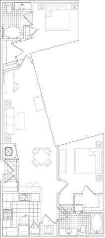 Floor Plan  2 Bedroom, 2 Bath 1059 SF B12