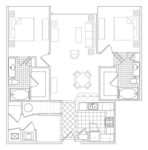 Floor Plan  2 Bedroom + Loft, 2 Bath 1392 SF B1M