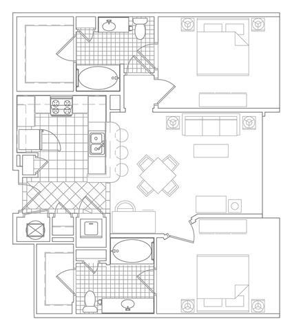 Floor Plan  2 Bedroom, 2 Bath 1079 SF B3C