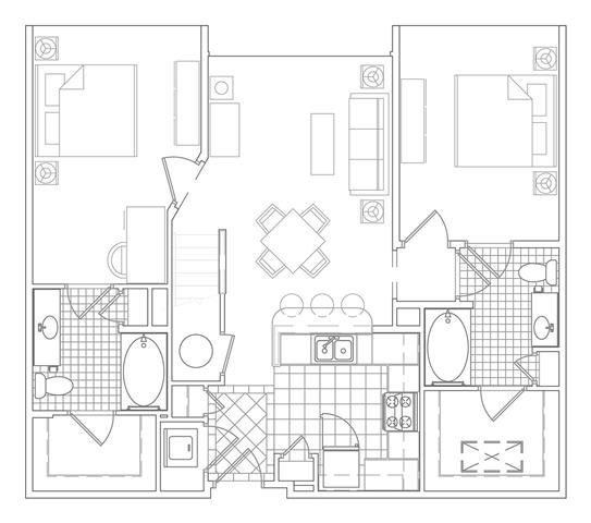 Floor Plan  2 Bedroom + Loft, 2 Bath 1213 SF B3CM