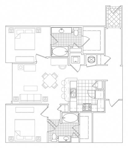 Floor Plan  2 Bedroom, 2 Bath 1275 SF B3D