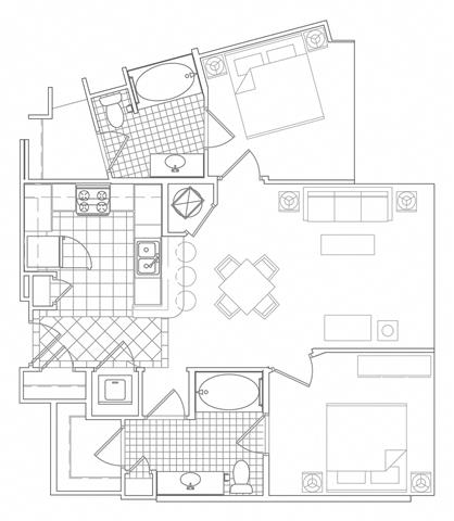 Floor Plan  2 Bedroom, 2 Bath 987 SF B4A